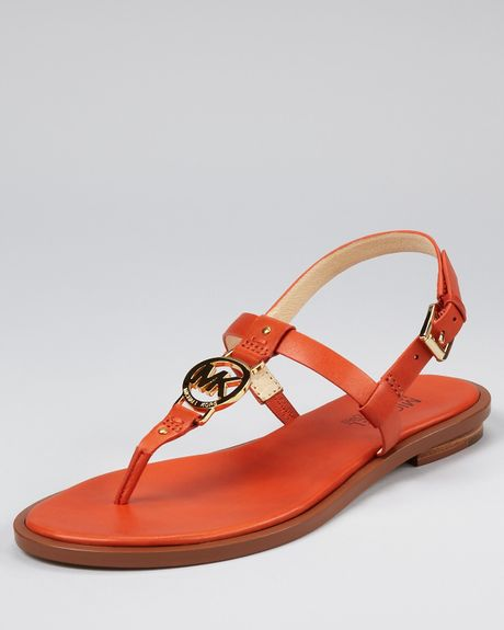 Michael Kors Sondra Flat Sandals In Orange Burnt Orange