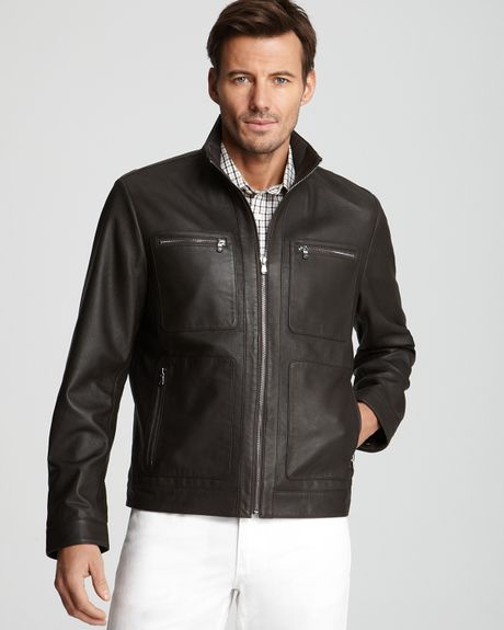 Michael Kors Perforated Leather Racer Jacket In Brown For