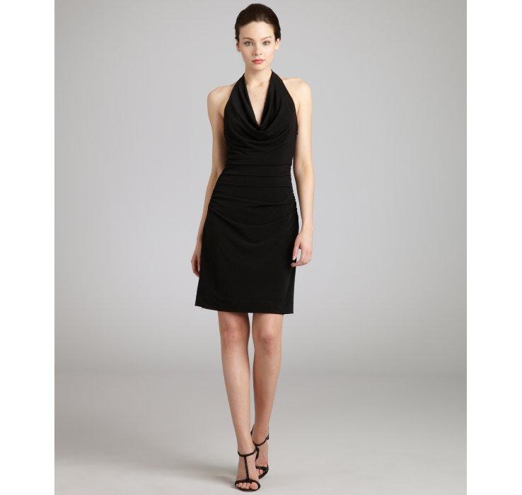 Nicole miller Black Jersey Cowl Neck Halter Dress in Black  Lyst