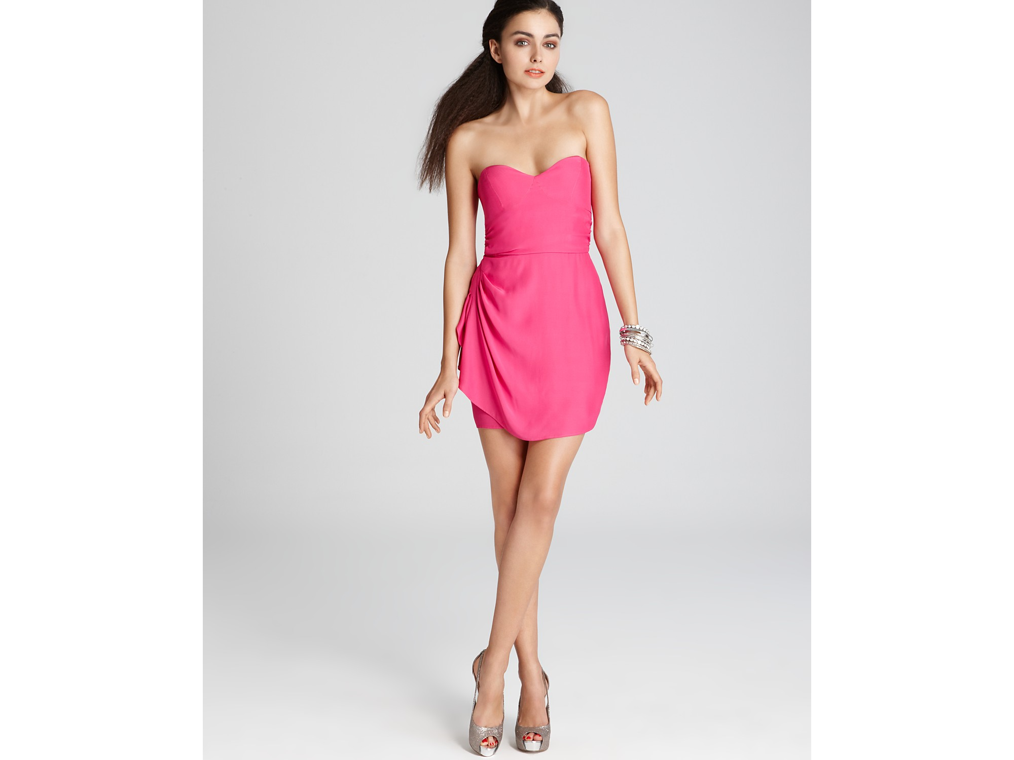 Parker Strapless Dress with Ruched Side Detail in Pink - Lyst