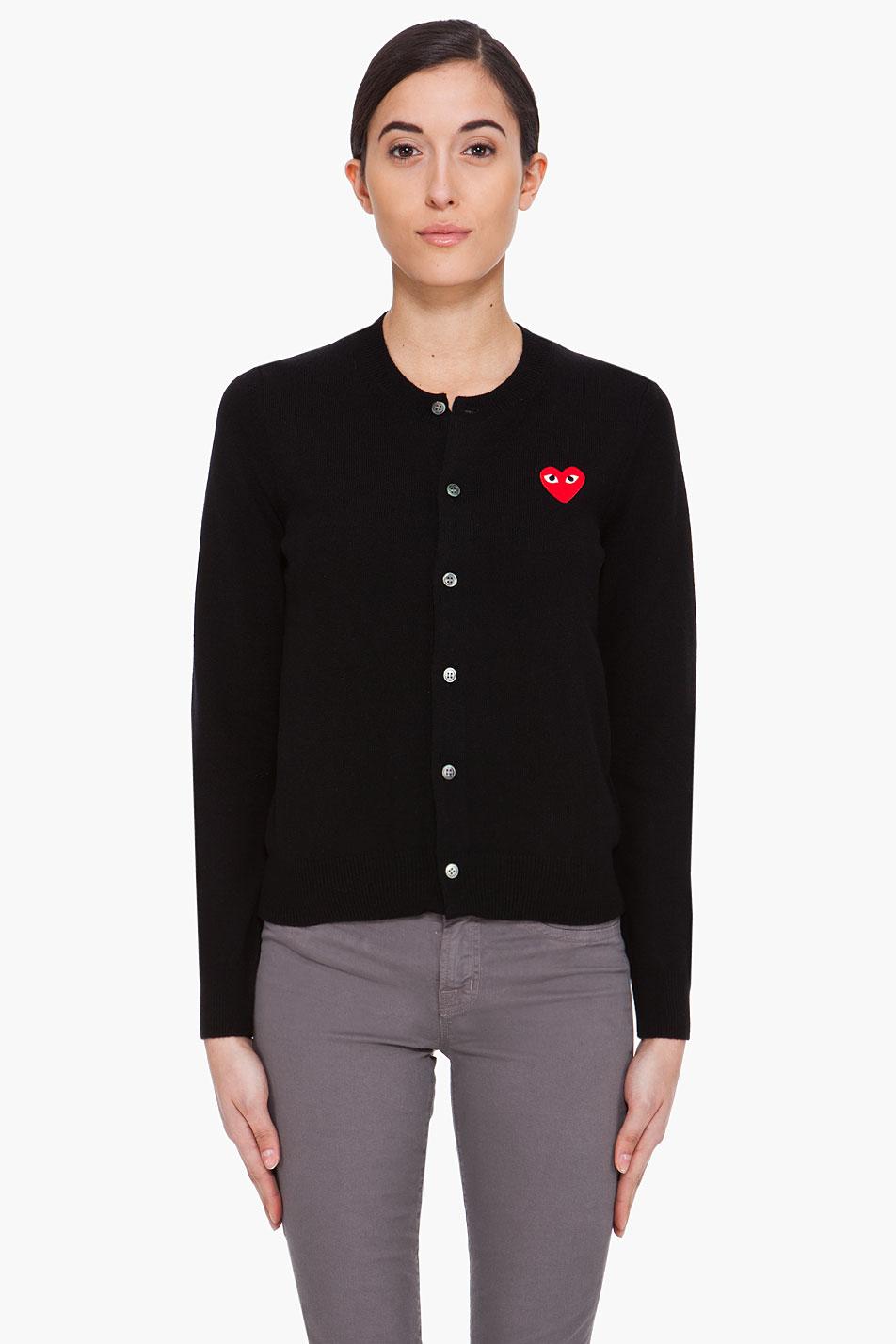 play comme des gar ons black heart emblem cardigan in black lyst. Black Bedroom Furniture Sets. Home Design Ideas