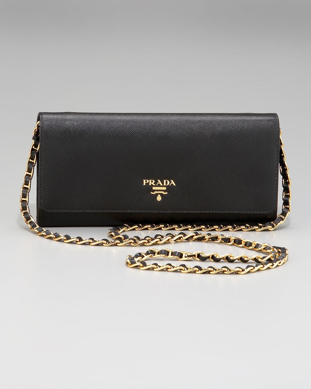 lyst prada saffiano chain crossbody wallet in black