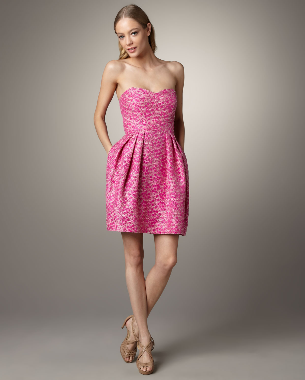 Shoshanna Meghan Strapless Jacquard Dress in Pink   Lyst