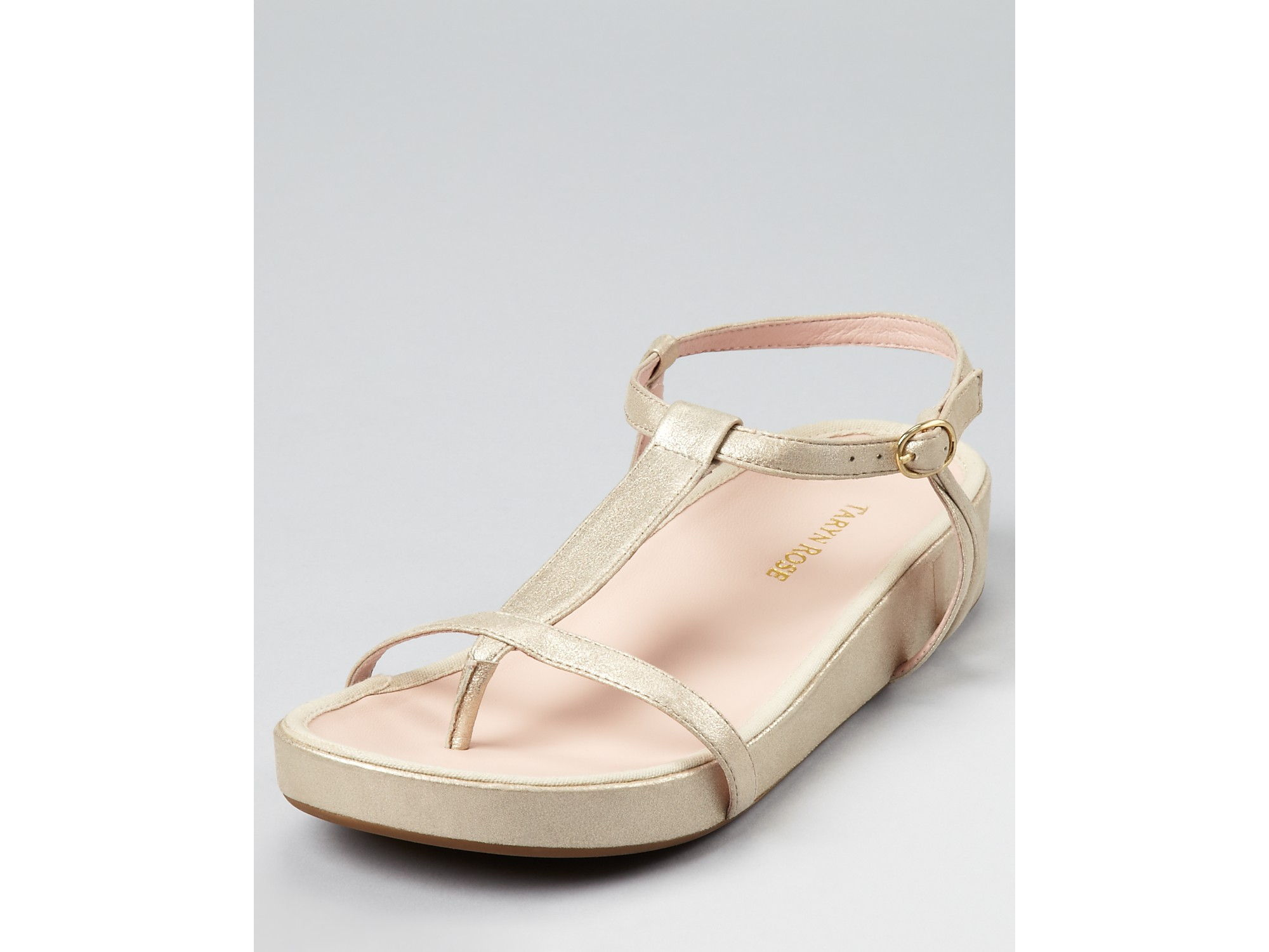 Taryn Rose Sandals Amor Thong Sandal In Black Soft Gold