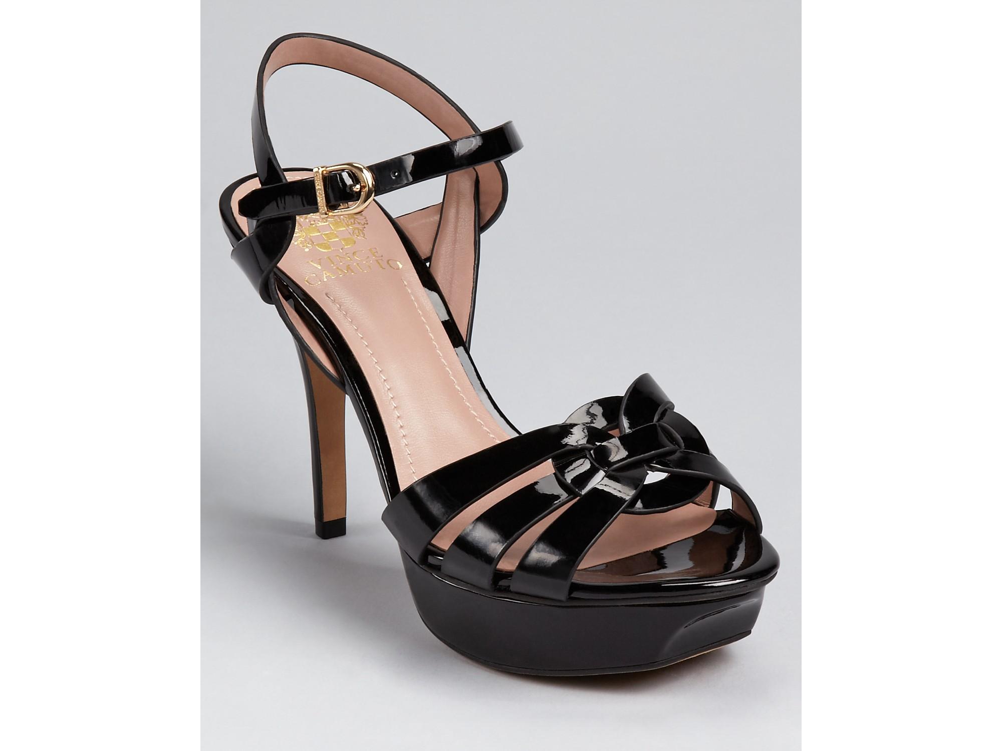 Vince Camuto Toleo Platform Sandals In Black Patent Black