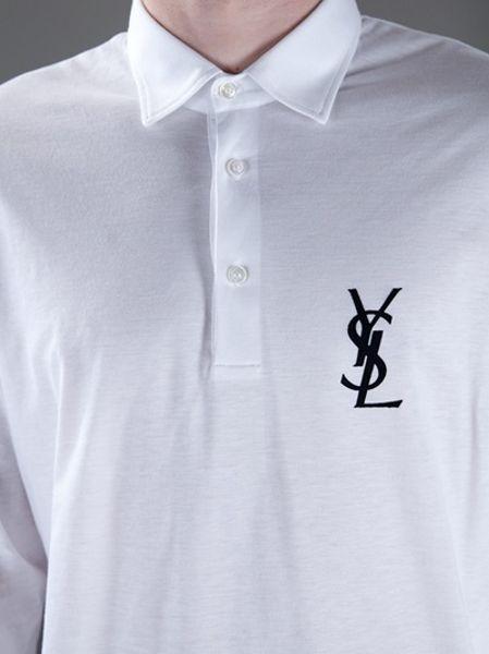 Saint laurent logo polo shirt in white for men lyst for Yves saint laurent logo shirt