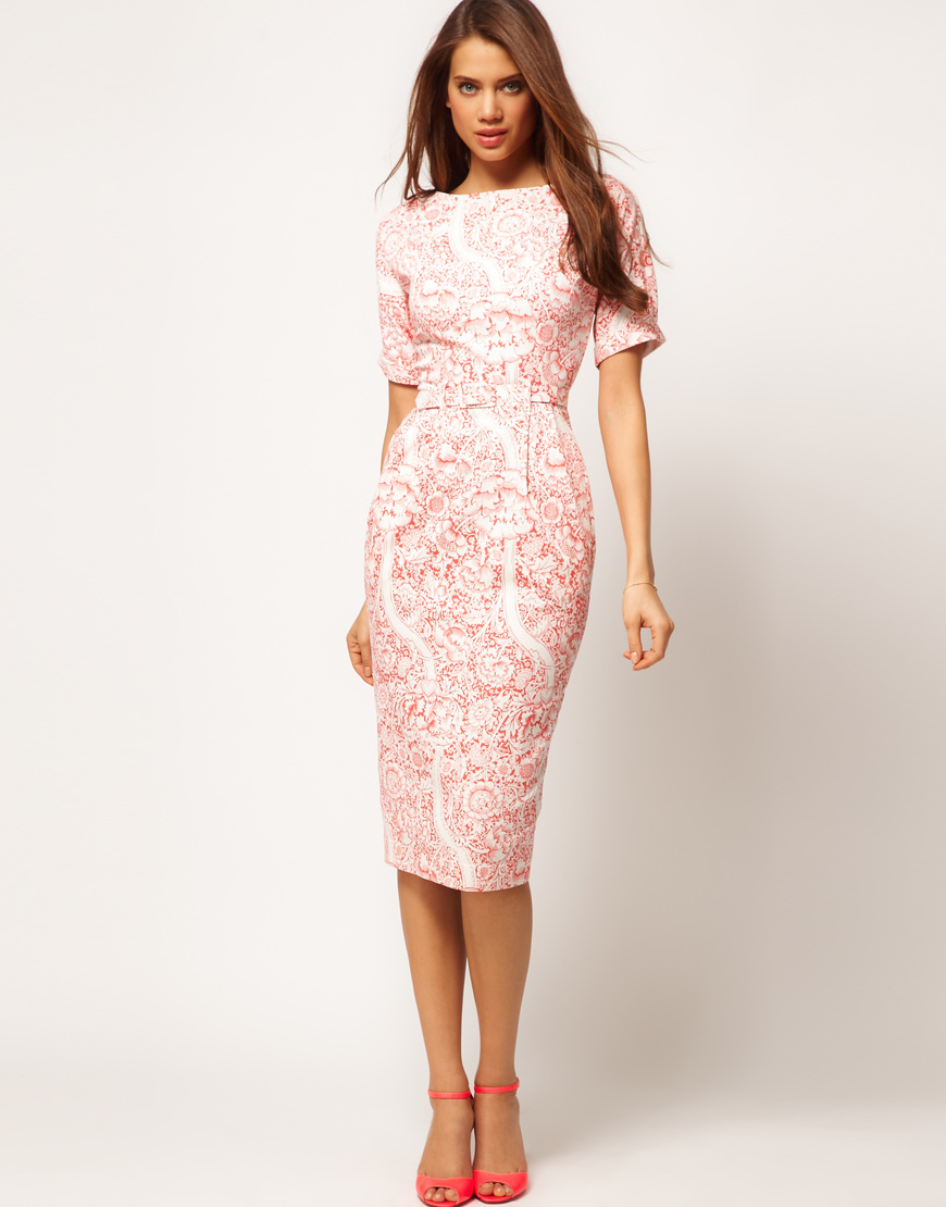 Asos collection Pencil Dress in Wallpaper Print in Pink