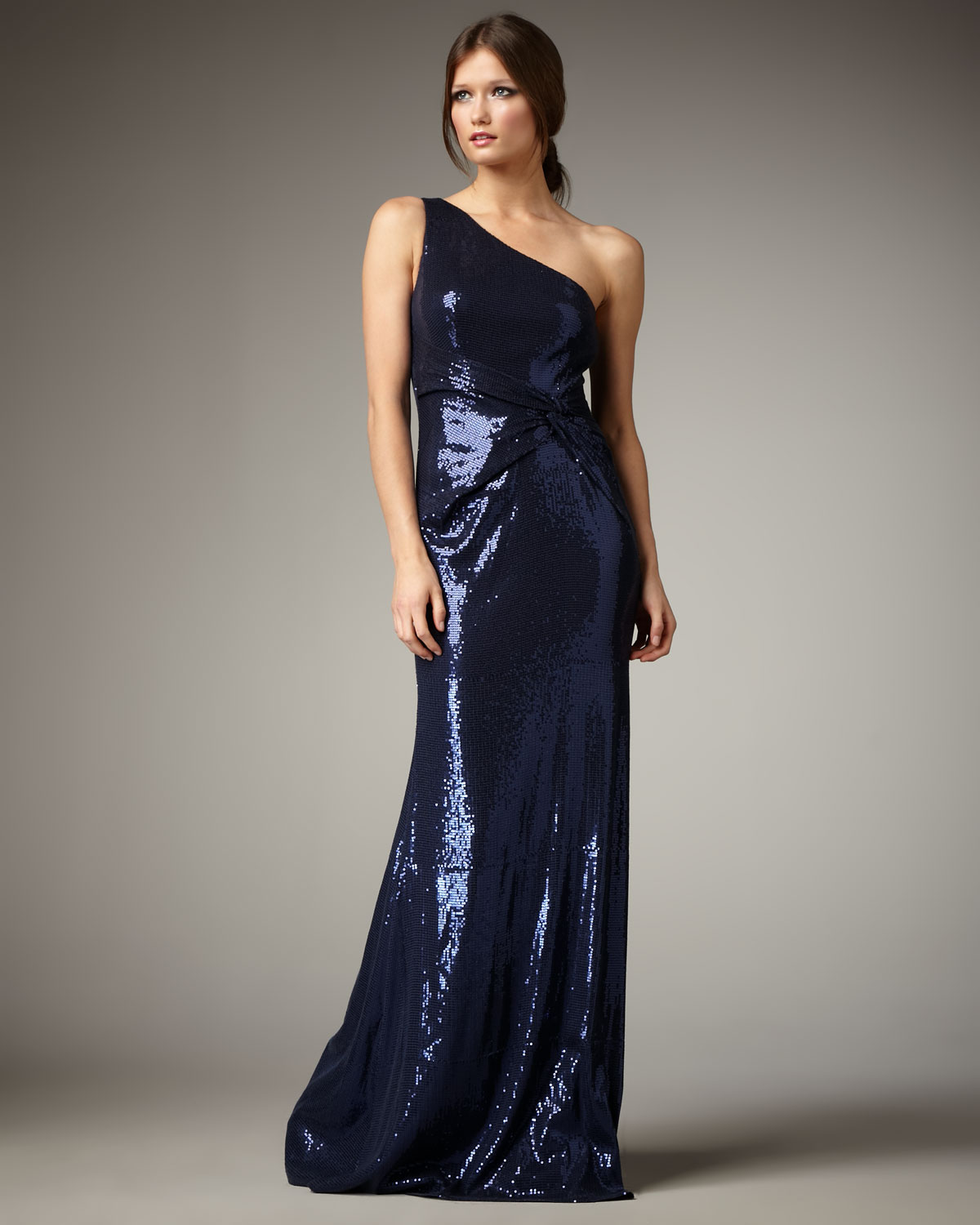 Lyst - David Meister One-Shoulder Sequin Gown in Blue