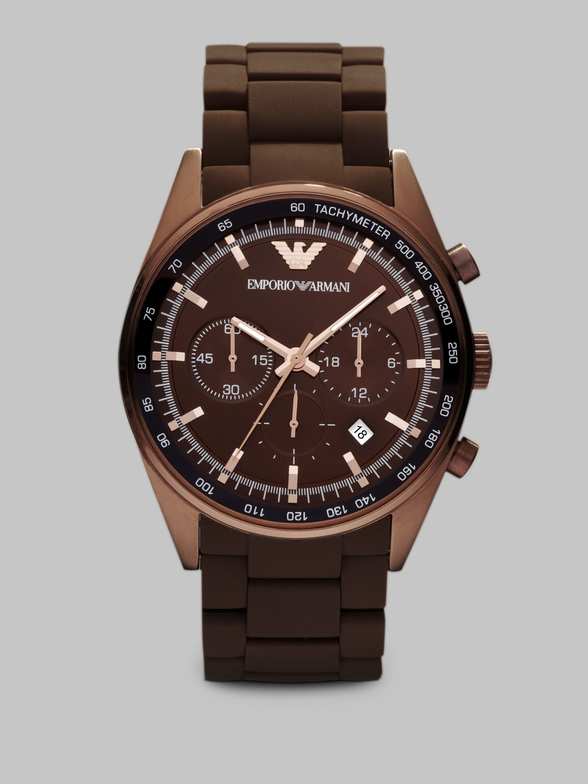 emporio armani chronograph watch in brown lyst. Black Bedroom Furniture Sets. Home Design Ideas