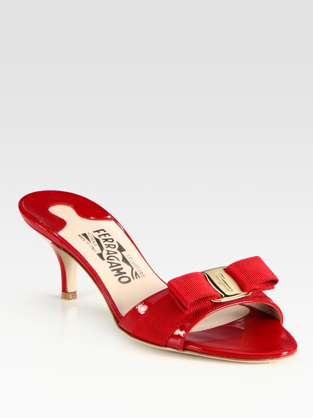e109a36e2b7b Lyst - Ferragamo Vara Patent Leather Kittenheel Bow Pumps in Red