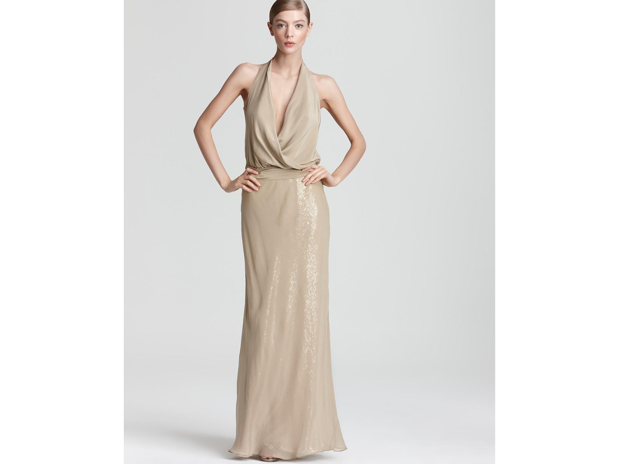 Nicole miller Draped Sequin Gown in Metallic - Lyst