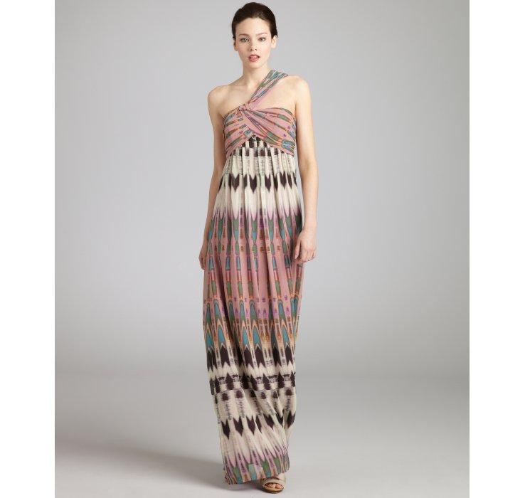 Nicole miller Mauve Arrowhead Print Silk Chiffon One Shoulder Maxi ...