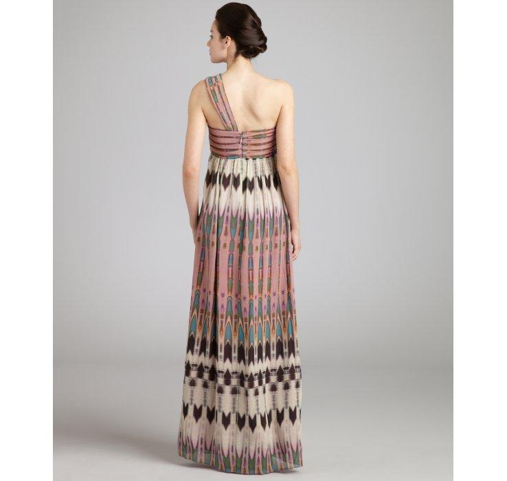 Nicole Miller Mauve Arrowhead Print Silk Chiffon