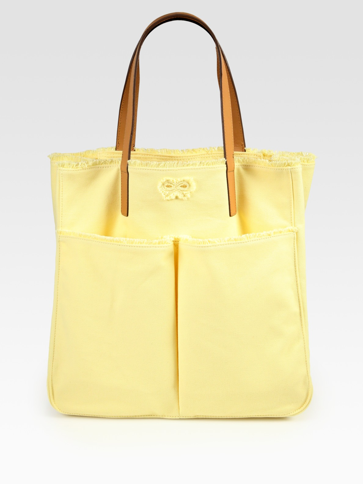 Anya hindmarch Nevis Canvas Tote Bag in Yellow | Lyst