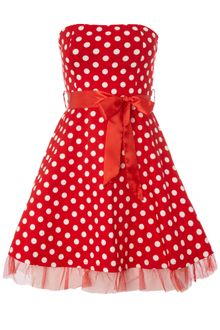 Ax Paris Ax Paris Polka Dot Dress with Ribbon Belt - Lyst
