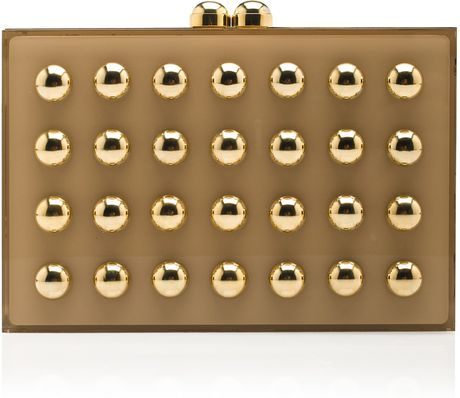 Elie Saab Square Clutch with Gold Studs in Gold