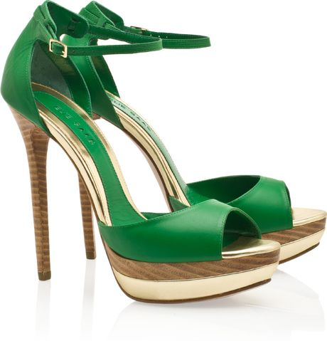 Elie Saab Peep Toe Platform Sandals in Green - Lyst