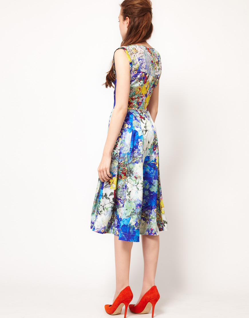 Full Circle Full Circle Botanical Print Fit Flare Dress Lyst