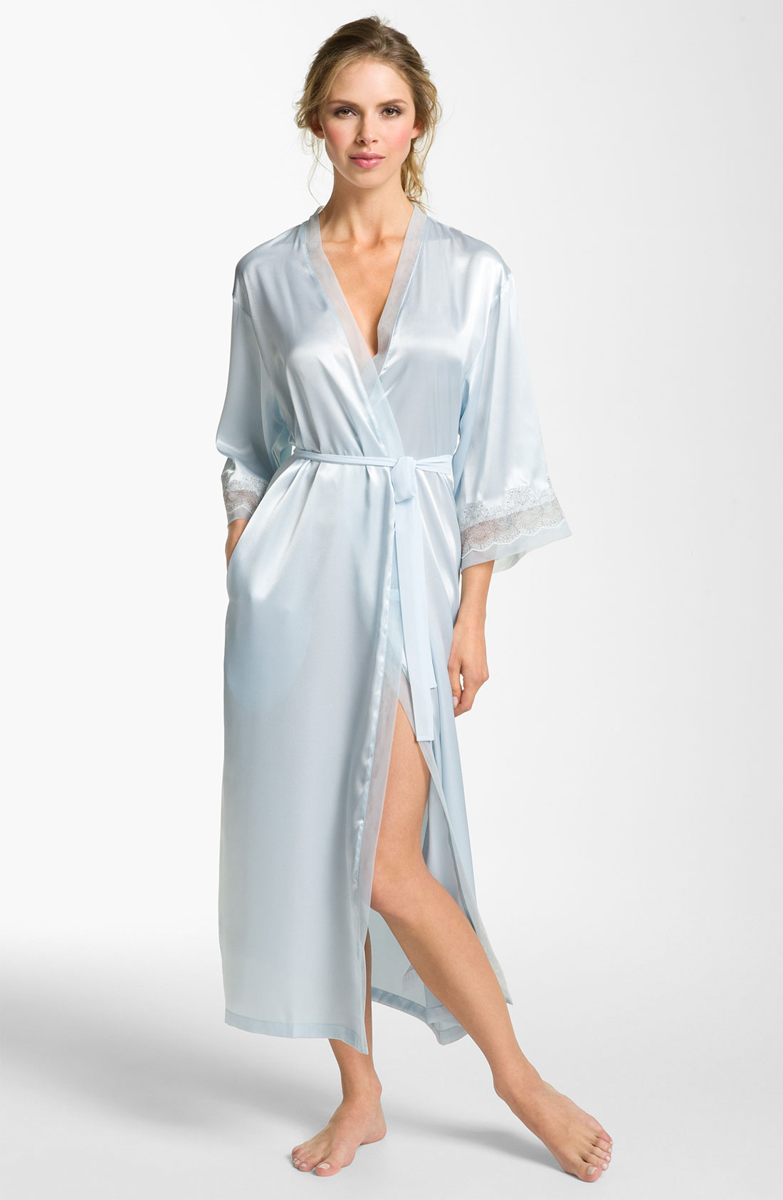 oscar de la renta elegant satin robe in blue blue vapor lyst. Black Bedroom Furniture Sets. Home Design Ideas