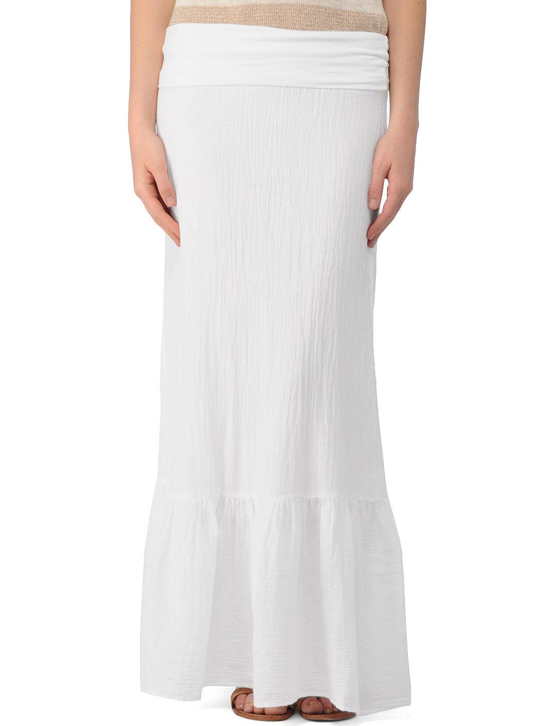 Splendid Linen and Jersey Maxi Skirt in White | Lyst