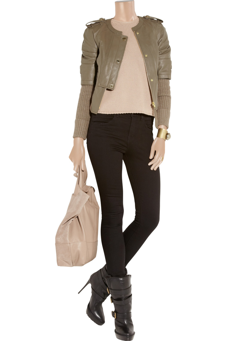 Lyst Tory Burch Wentworth Leather And Wool Blend Jacket