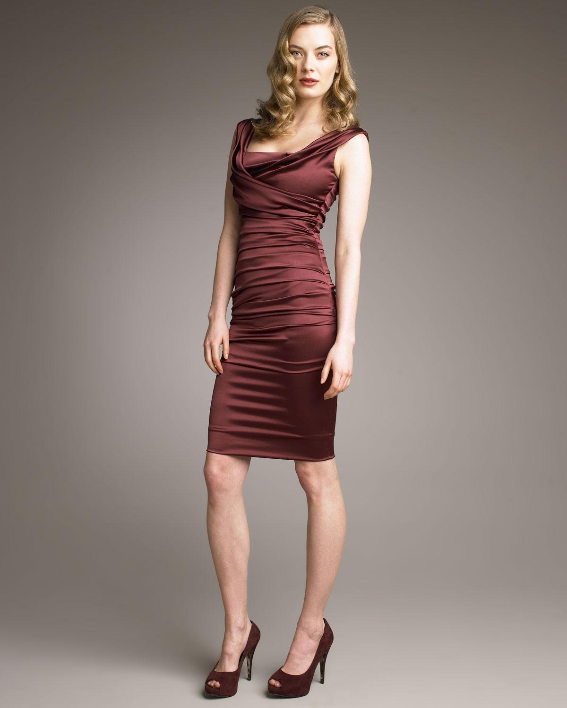 Burgundy Ruched Dress