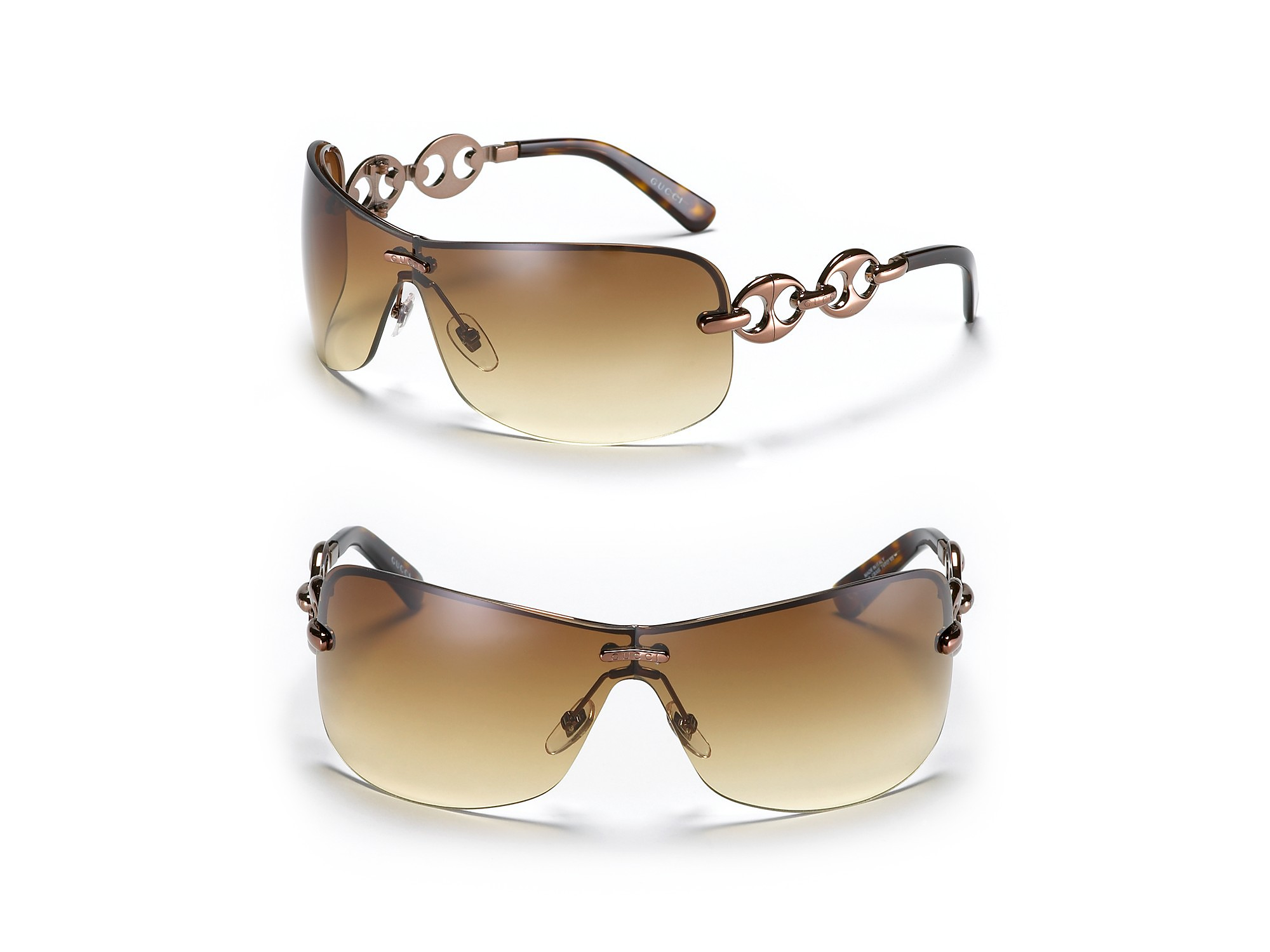 9c23a883aed Lyst - Gucci Rimless Shield Sunglasses with Chain Link Design in Brown
