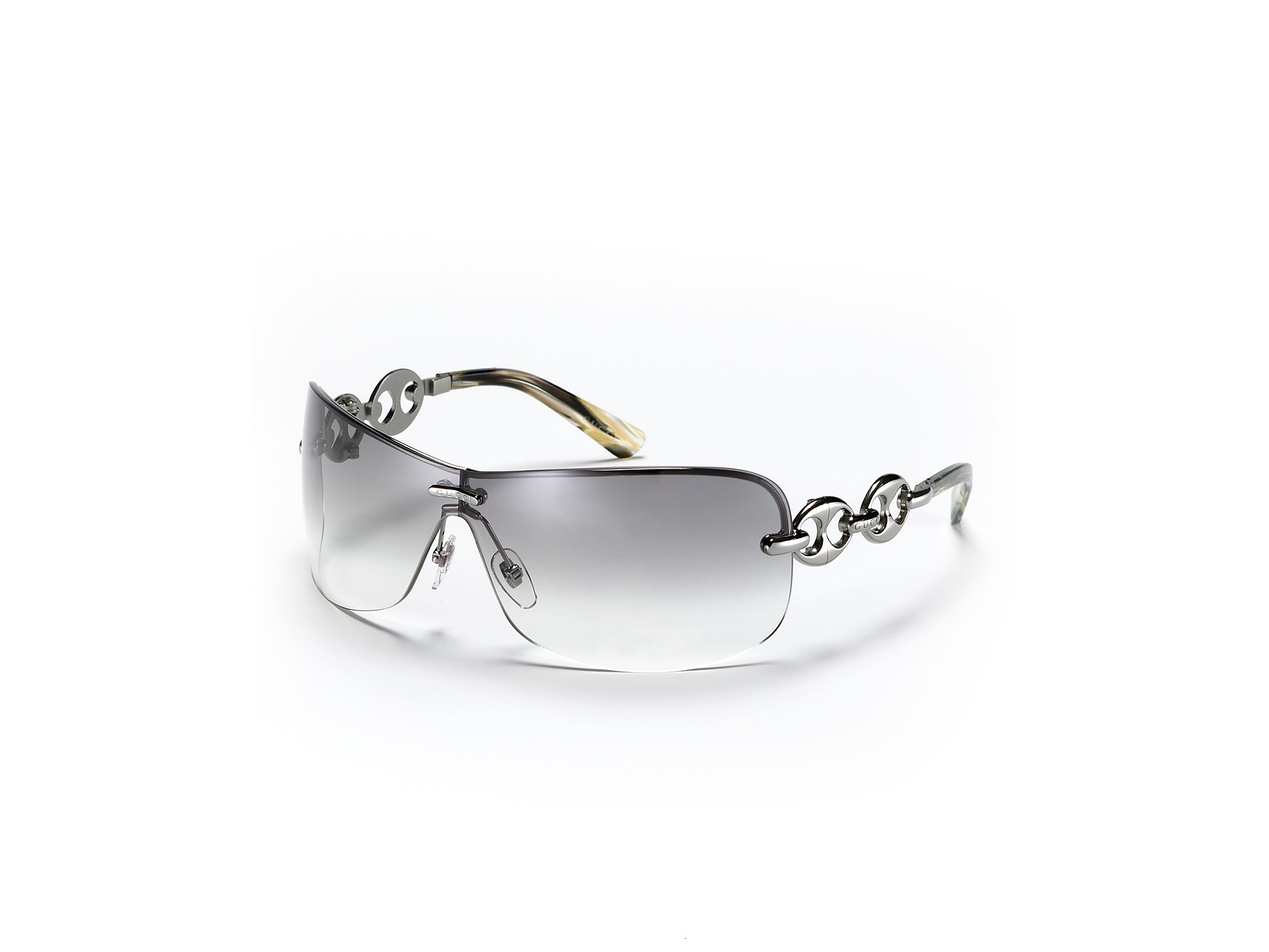 076e115b31b5 Gucci Rimless Shield Sunglasses with Chain Link Design in Brown - Lyst