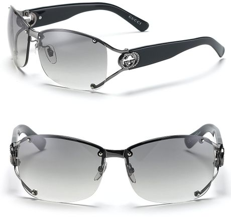 Gucci Split Temple Aviator Sunglasses with Crystal Ggs in Silver (shiny dark ruthenium)