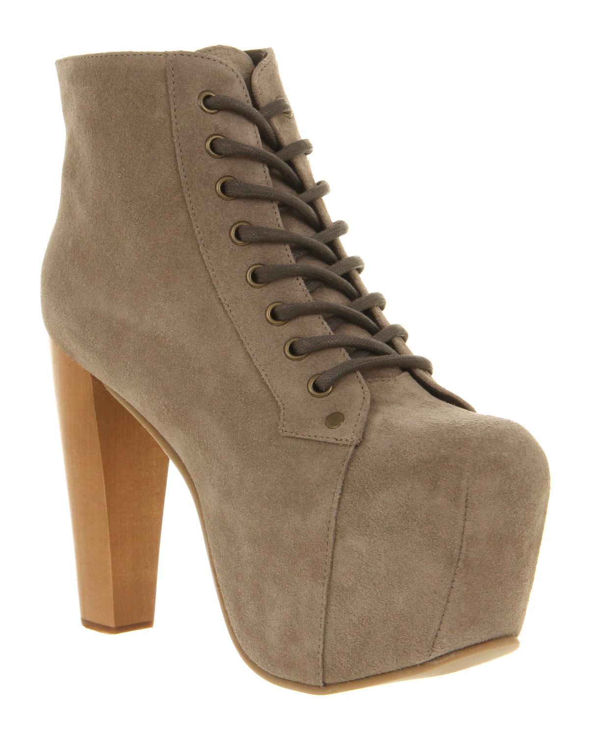 jeffrey campbell lita platform ankle boot grey suede in brown grey lyst. Black Bedroom Furniture Sets. Home Design Ideas