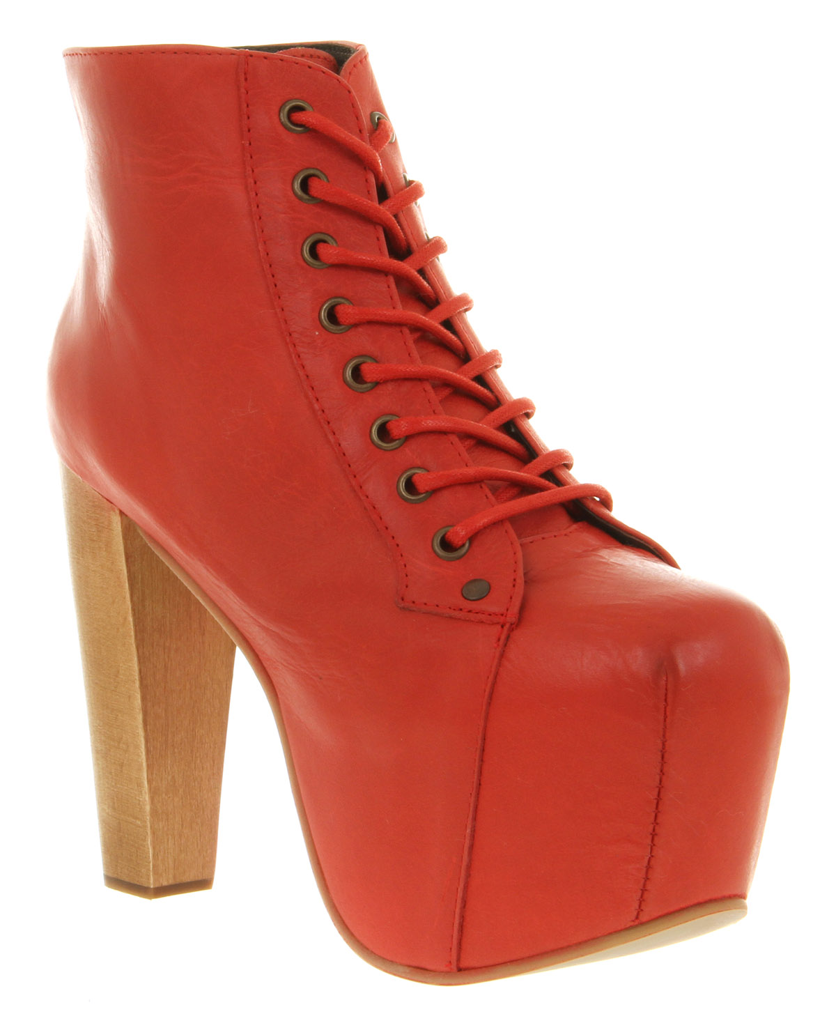 jeffrey campbell lita platform ankle boot red leather in red lyst. Black Bedroom Furniture Sets. Home Design Ideas