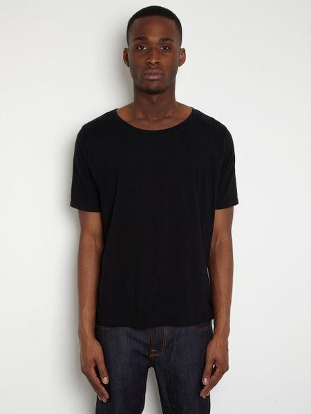 Nudie Jeans Nudie Jeans Mens Wide Neck Tshirt In Black For