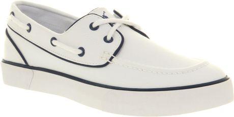 Ralph Lauren Lander Canvas Boat Shoe White Canvas in White for Men