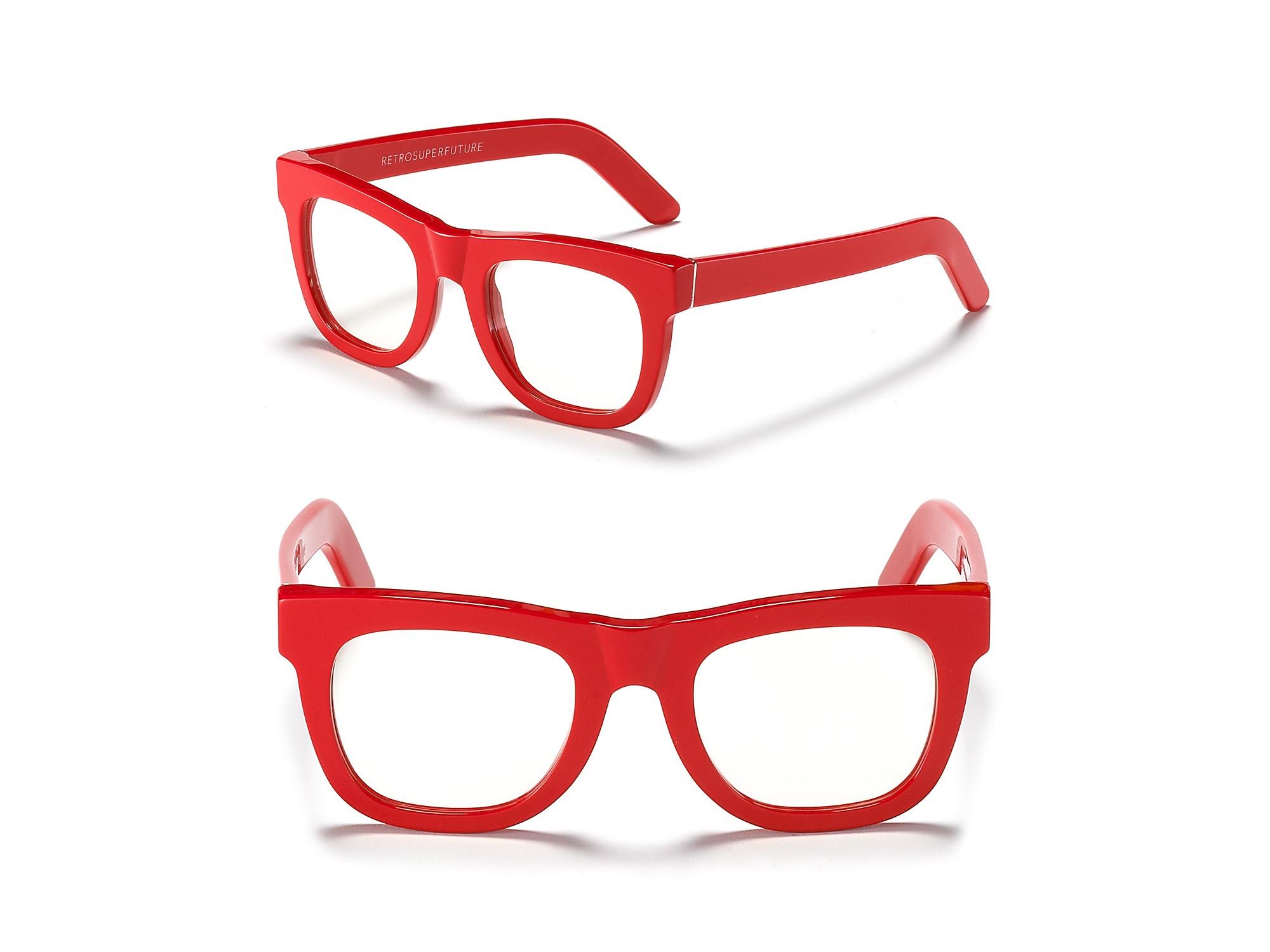 Lyst - Retrosuperfuture Ciocio Clear Frame Glasses in Red