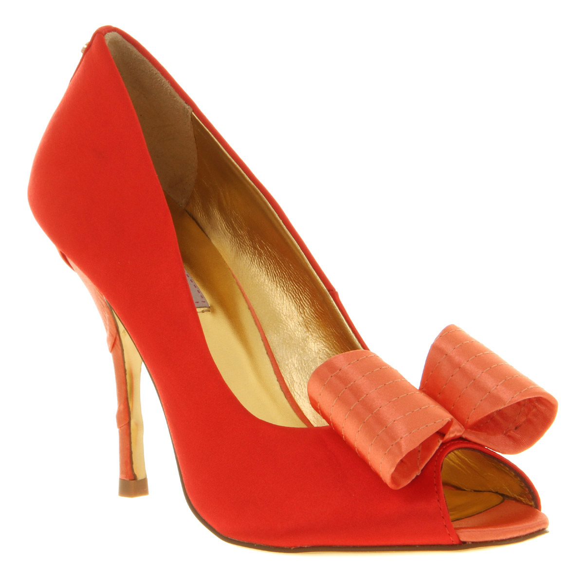 8cd2ff88f Lyst - Ted Baker Philesa Peeptoe Bow Court Orange Textile in Orange