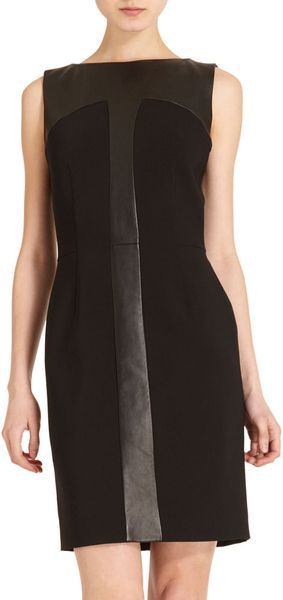 Yves Saint Laurent Leather Panel Dress - Lyst