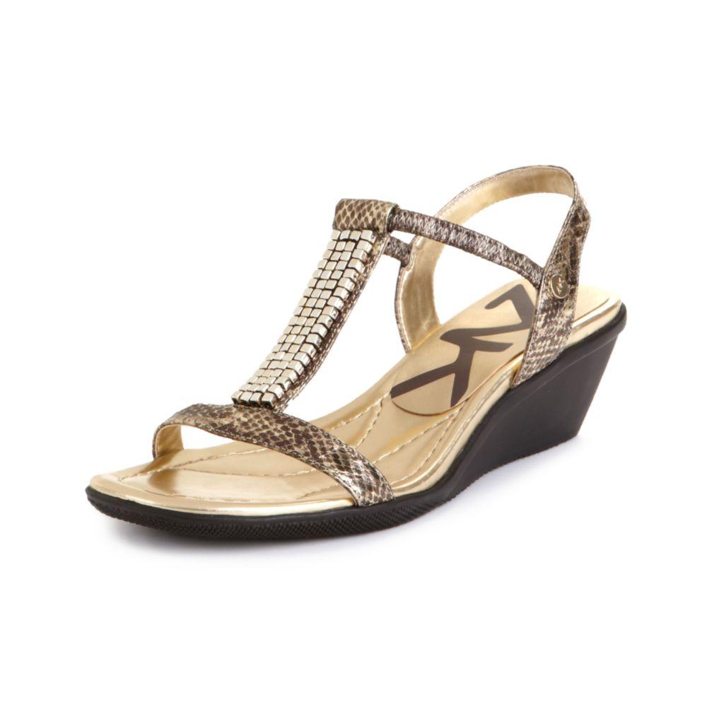 9274386dd72 Lyst - Anne Klein Missie Sport Wedge Sandals in Metallic