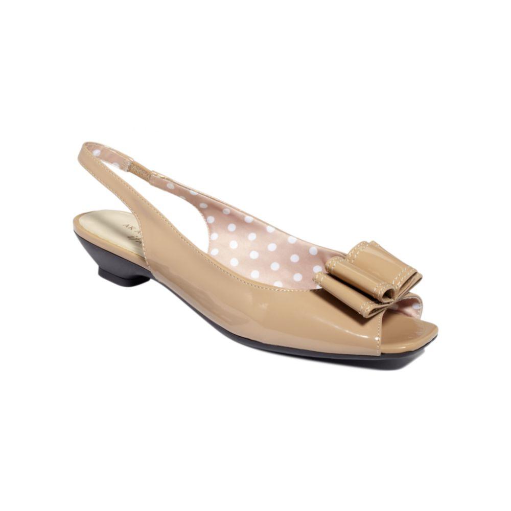 Anne Klein Jadon Iflex Peep Toe Pumps in Pink (tan patent