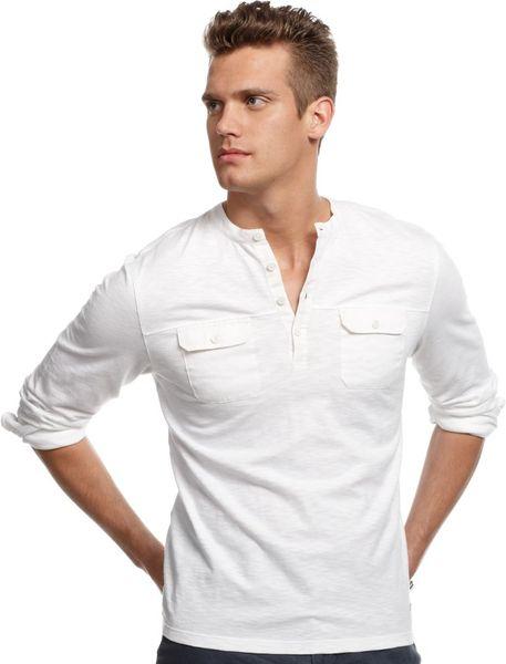 Calvin Klein Long Sleeve Linen Blend Shirt In White For