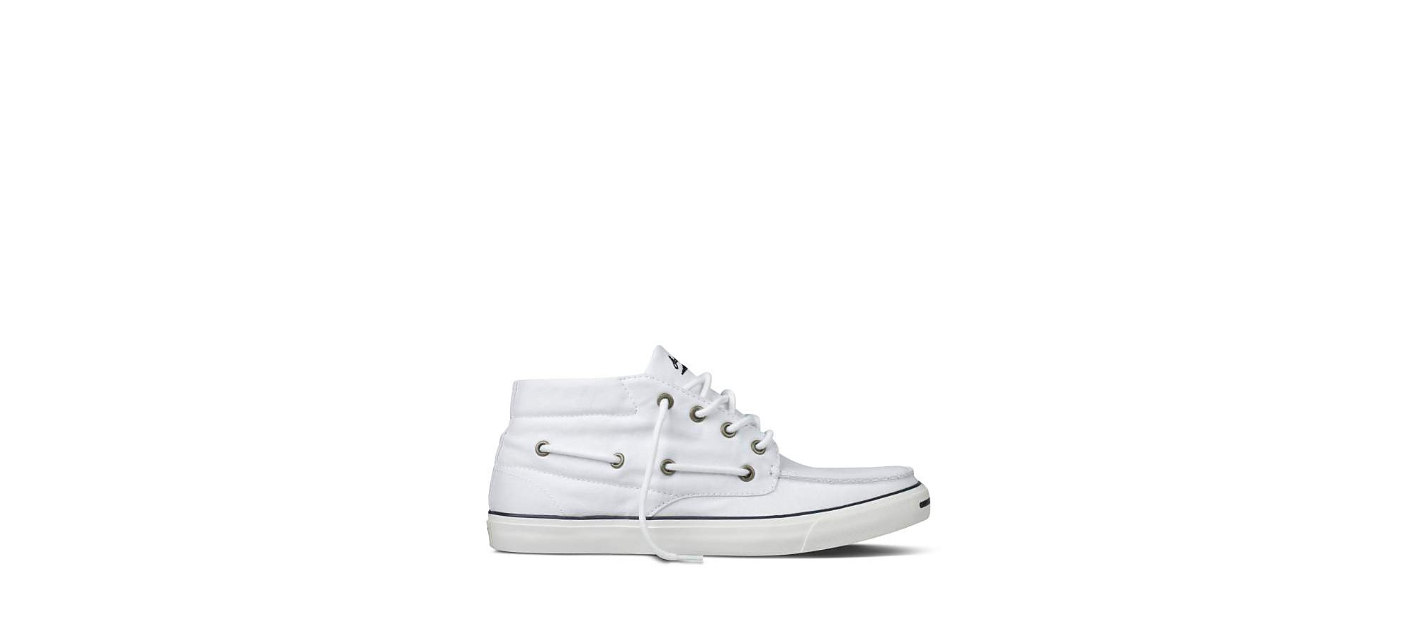 Lyst - Converse Jack Purcell Mid Rise Boat Shoe in White for Men 3d83c080956f