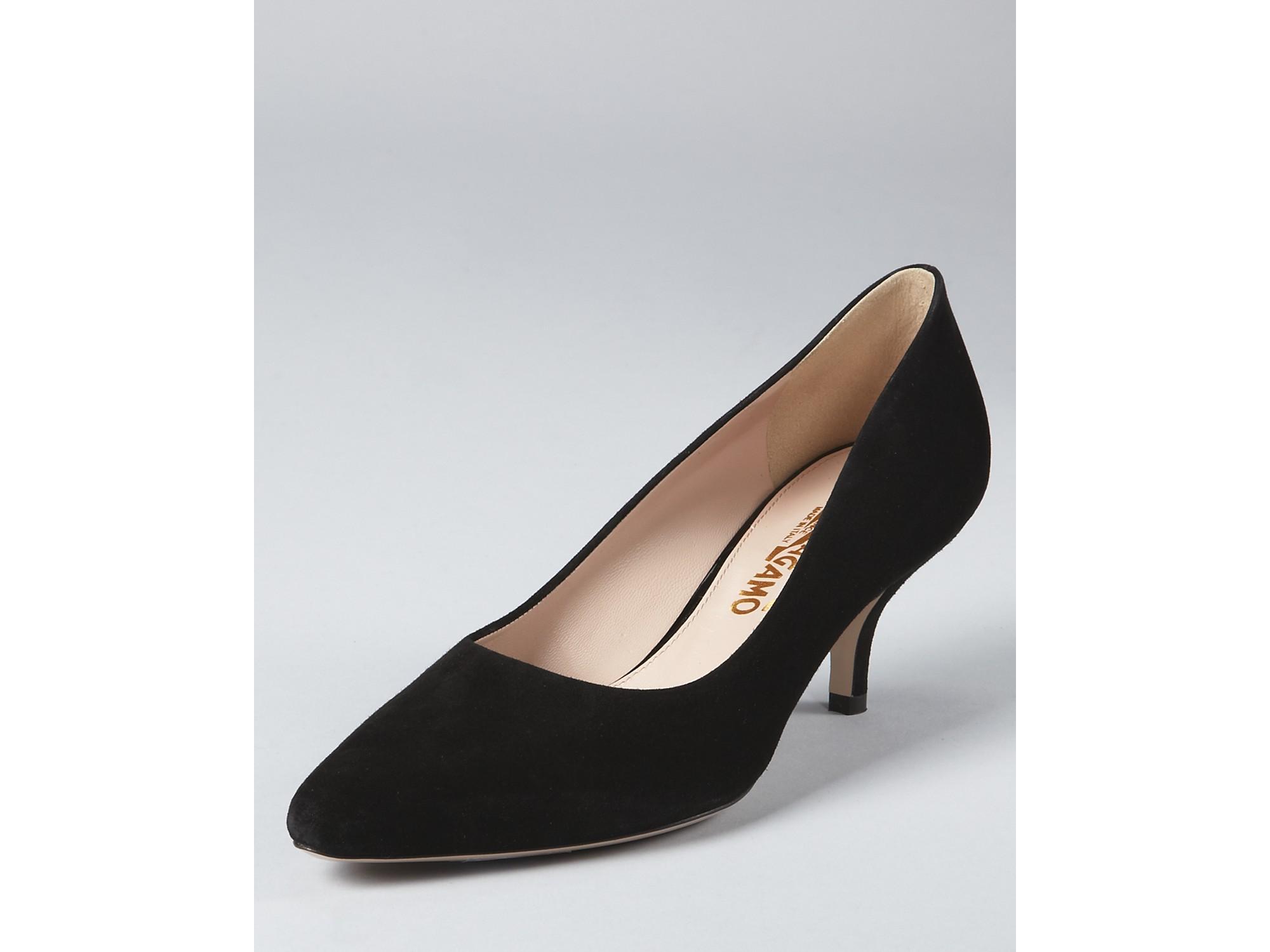 Lyst Ferragamo Dupe Pumps Dalia Kitten Heel In Black