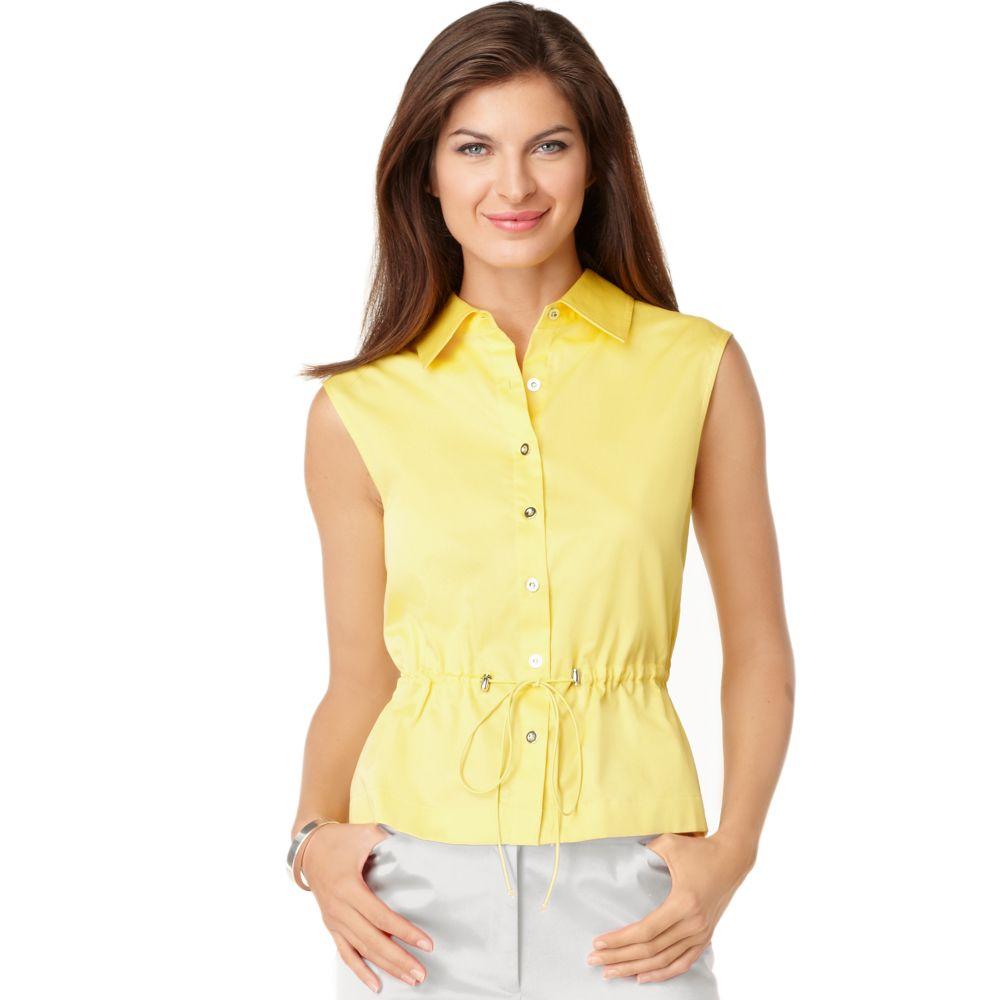 Jones new york sleeveless cotton button down in yellow lyst for Sleeveless cotton button down shirts