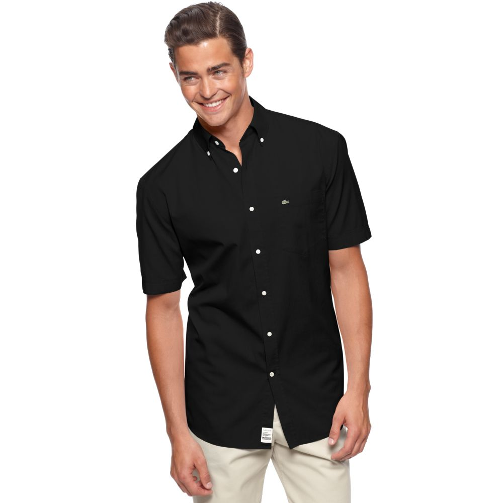 Lacoste Short Sleeve Washed Woven Oxford Shirt in Black for Men | Lyst