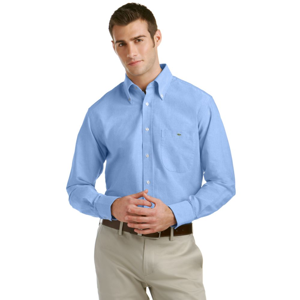 Lacoste Oxford Button Down Dress Shirt in Blue for Men | Lyst