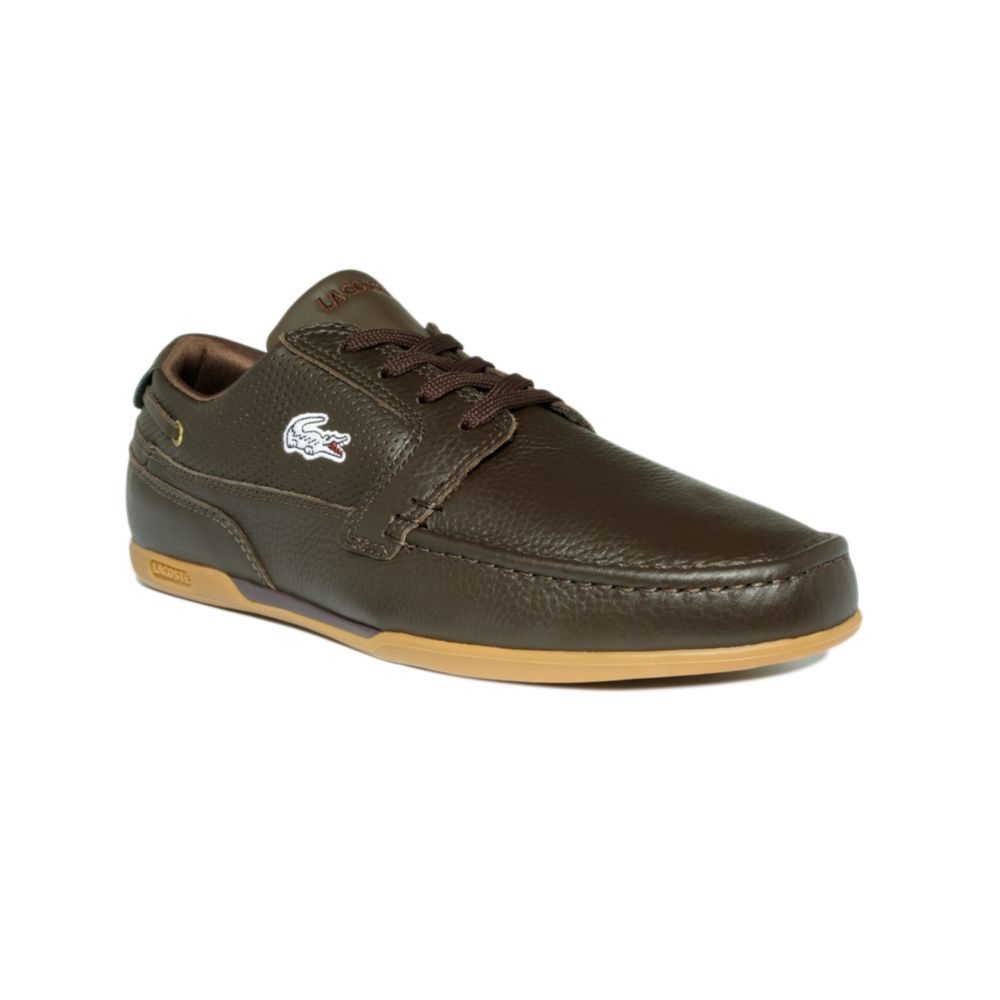 lacoste dreyfus leather boat shoes in brown for