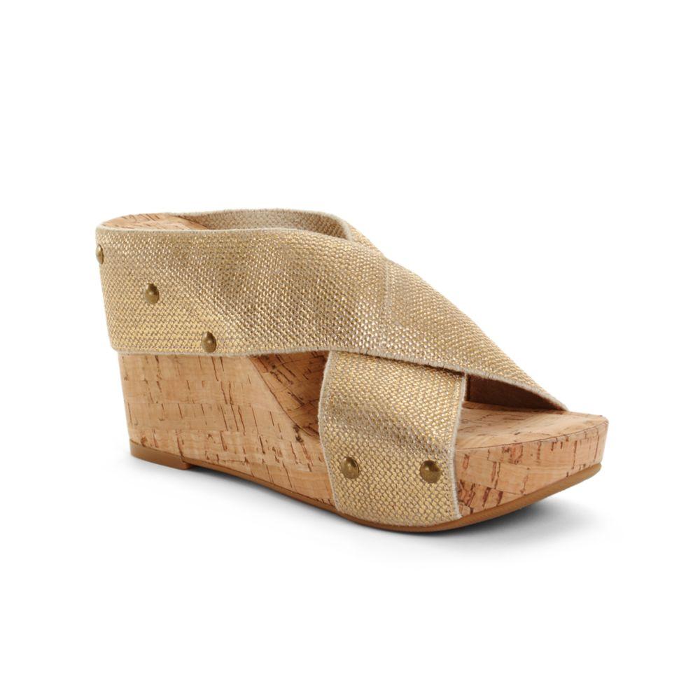lucky brand miller2 wedge sandals in beige gold lyst
