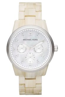 Michael Kors Womens Chronograph White Horn Acetate Bracelet 37mm First Macys - Lyst