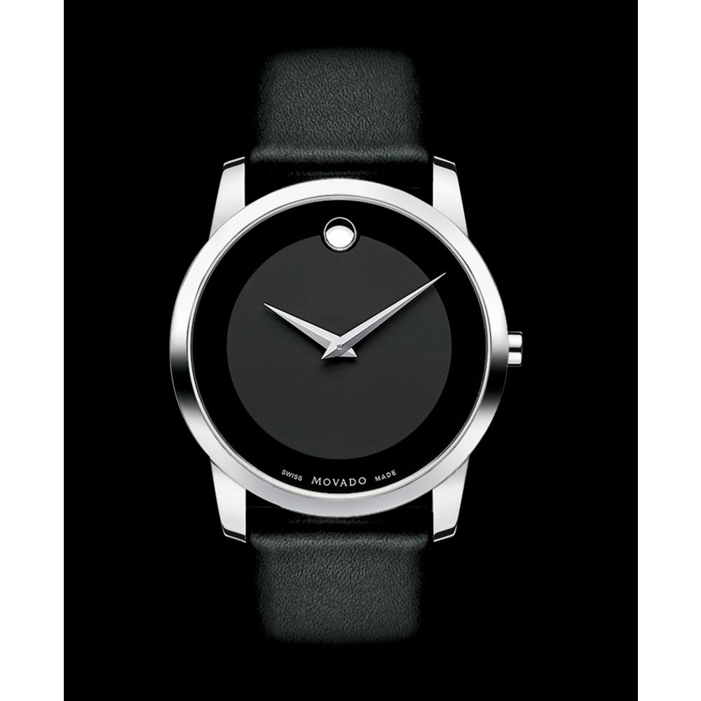 Movado Mens Swiss Museum Black Leather Strap 40mm in Black ...