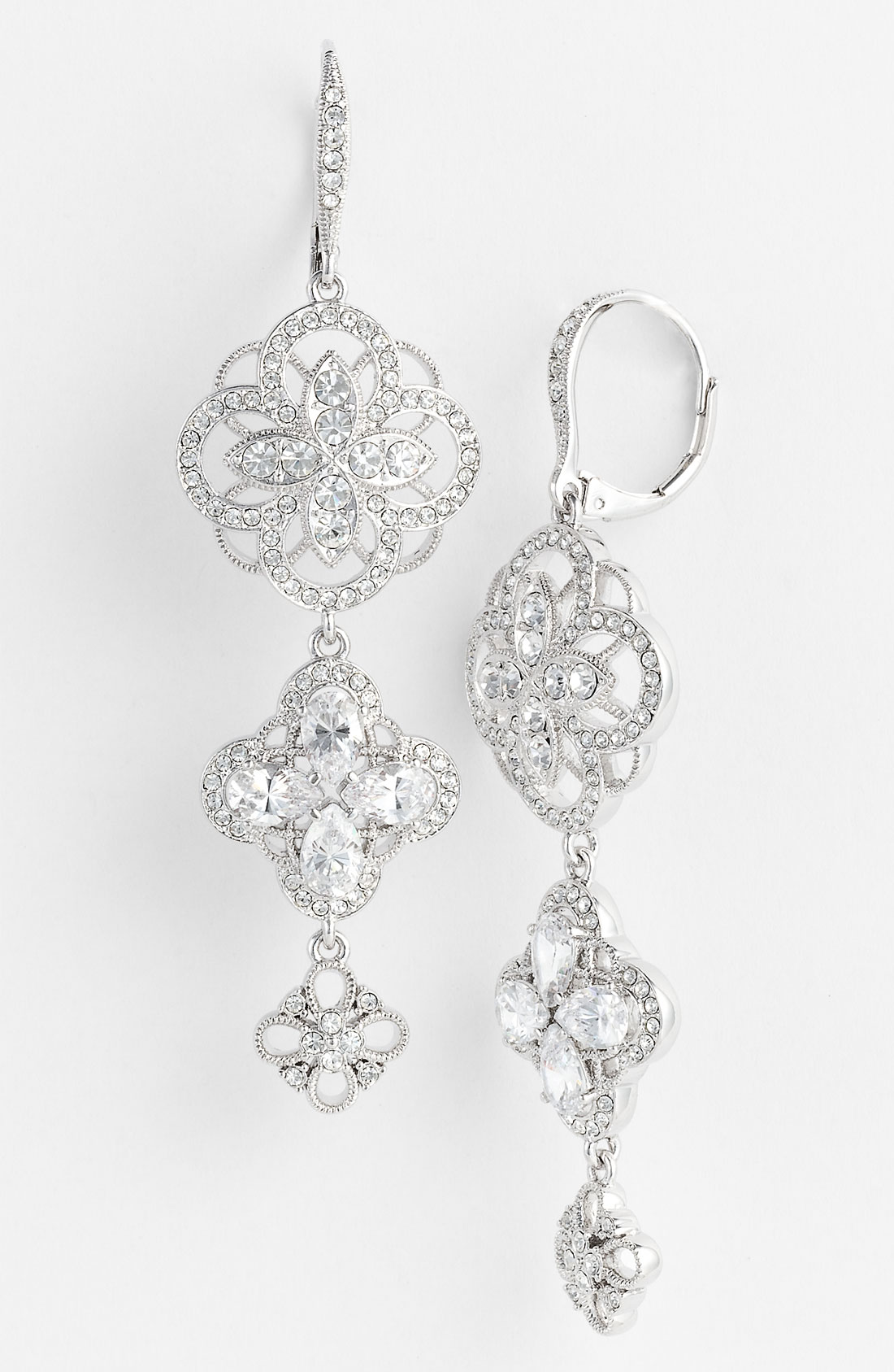 Lyst - Nadri Ariel Triple Drop Earrings in Metallic