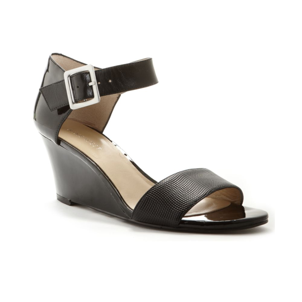 bfc66b0f4c Nine West Packurbags Wedge Sandals in Black - Lyst